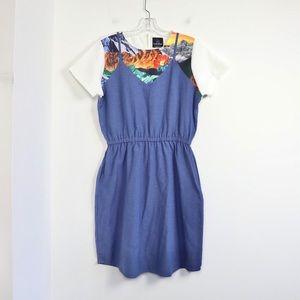 Plains&Prints floral print chambray cotton dress M